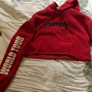 A Red H&M crop top hoodie